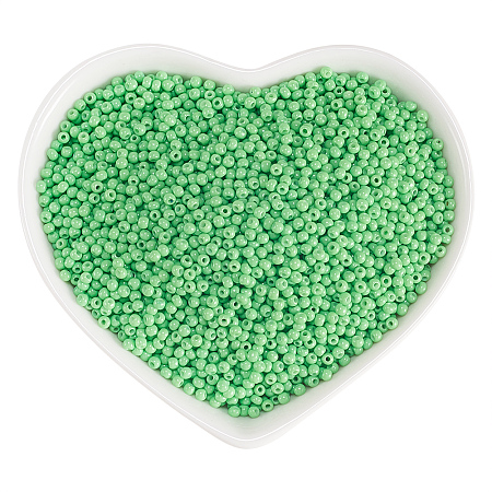 ORNALAND 12/0 Glass Seed Beads, Baking Varnish, Opaque Colours, Round, Yellow Green, 2x1.5mm, Hole: 0.3mm; about 11200pcs/bag
