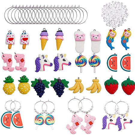 NBEADS 24 Sets DIY Wine Glass Charms Making Kits, with Handmade Polymer Clay Pendants, Brass Hoop Earrings Findings and Glass Beads for Party Favors Family Gathering