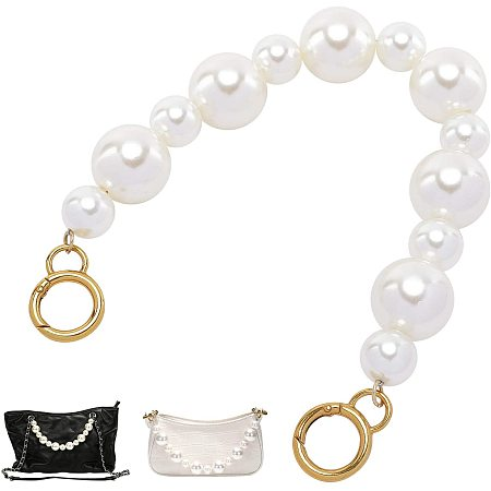 PandaHall Elite 1 pc 15.6 Inch 29mm 19mm Imitation Pearl Bead Handle Short BagChain Strap Replacement BagChain with Golden Alloy Spring Gate Rings for Handbag Purse Wallet Clutch Crafts Making, White