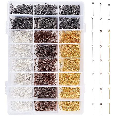 PandaHall Elite 2880pcs 4 Color 6 Size Eye Pins Jewelry Head Pins Open Eyepins Headpins for Charm Beads DIY Necklaces Bracelets Earrings Jewelry Making Pins Supplies