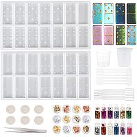 OLYCRAFT 25PCS Dominoes Molds Domino Epoxy Resin Molds Resin Molds Silicone Kit for DIY Personalized Dominoes Dominoe Games, Resin Jewelry