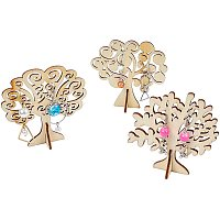 Fingerinspire Wooden Jewelry Earring Display Stand, Earring Holder, Tree, Floral White, 30sets/bag