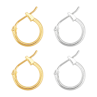 Brass Hoop Earrings, Silver Color, Nickel Free, 12x1.5mm; Hole: 10mm, Mixed Color, 12x1.5mm, 2 colors, 20pcs/color, 40pcs/box