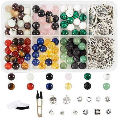 NBEADS 120 Pcs Natural Gemstone/Lava Beads, 60 Pcs Alloy Spacer Beads, 50 Pcs Tibetan Style Alloy Pendants, 50 Pcs Jump Rings, 2 Rolls Elastic Strings and 1 Pc Sharp Steel Scissor for Jewelry Making