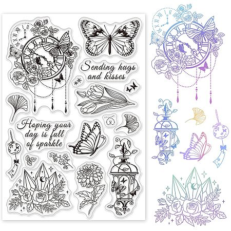 GLOBLELAND Flowers Butterfly with Clock Clear Stamps Transparent Silicone Stamp for Card Making Decoration and DIY Scrapbooking