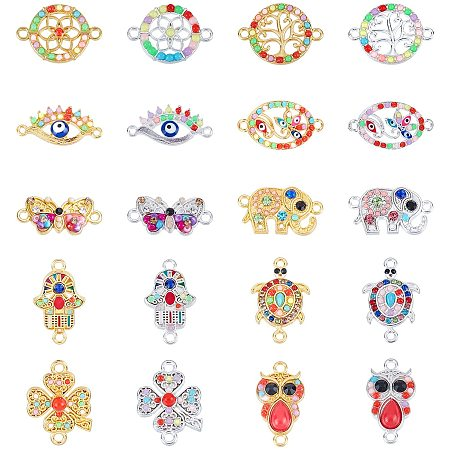 NBEADS 20 Pcs Alloy Links Connectors, Colorful 10 Styles Evil Eye Charm Jewelry Connector Findings with Resin and Rhinestone for DIY Crafts Making