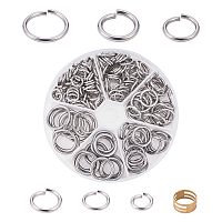 UNICRAFTALE 304 Stainless Steel Close but Unsoldered Jump Rings, with Brass Rings, Antique Bronze & Stainless steel Color, 103x17mm, 180pcs/box