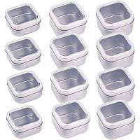 BENECREAT 12 Pack Tins Container(3 Mixed Size) Square Platinum Tin-plated Box with Lid and Clear Window Portable Empty Metal Tins Box Containers for Home Organizer