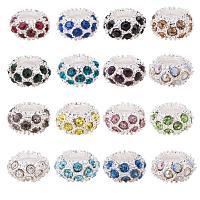 ARRICRAFT 100PCS Mixed Color Alloy Rhinestone Large Hole European Beads, Silver- 11x6mm, Hole: 5mm