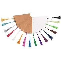 PandaHall Elite 40pcs Kraft Paper Blank Cardstock Bookmarks with 80pcs Colorful Tassels for DIY Projects Bookmarks and Gifts Tags (5.5 by 1.8 Inch)