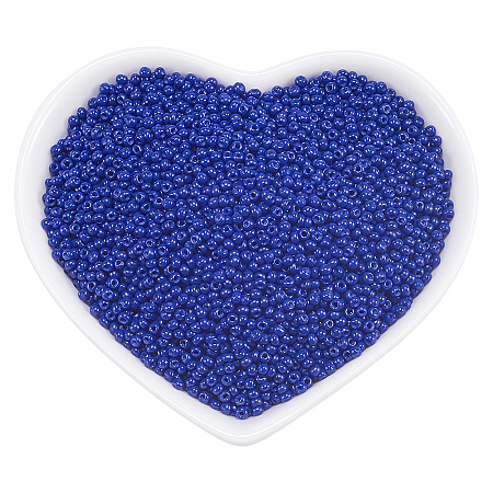 ORNALAND 12/0 Glass Seed Beads, Baking Varnish, Opaque Colours, Round, Medium Blue, 2x1.5mm, Hole: 0.3mm; about 11200pcs/bag