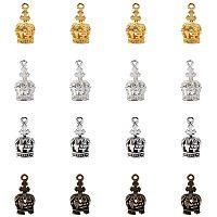 Alloy Pendants, Crown, Antique Bronze & Antique Silver & Golden & Silver, 17.5x8.5x8mm, Hole: 1.4mm, 80pcs/box