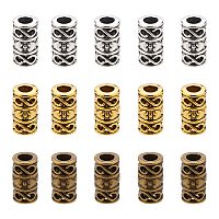 SUPERFINDINGS Tibetan Style Alloy Beads, Column, Lead Free & Cadmium Free, Mixed Color, 12x6mm, Hole: 3.5mm; 40pcs/color, 3 colors, 120pcs/box