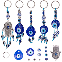 SUNNYCLUE DIY Keychain Making, Handmade Lampwork Evil Eye Pendants, Resin & Porcelain Beads, Alloy Chandelier Components Links & Iron Split Key Rings, Waxed Cotton Thread Cords, Platinum, 12x10cm