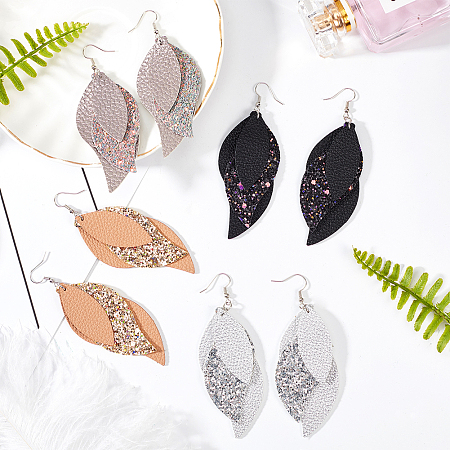 SUNNYCLUE DIY Dangle Earrings Making Kits, PU Leather Big Pendants with Sequins/Paillette & Platinum Tone Iron Loop, Brass Earring Hooks, Iron Jump Rings, Mixed Color, about 44pcs/set
