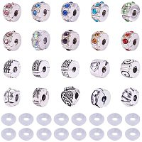 PandaHall Elite 20 Pcs Clip Lock Bead Charms with 20 Pcs Silicon Rubber Stopper O-rings Fit European Style Bracelet for Jewelry Making