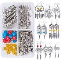 SUNNYCLUE DIY Woven Net/Web Chandelier Earrings Making Kits, Include Tibetan Style Alloy Links & Pendants, Glass Beads and Brass Earring Hooks, Mixed Color