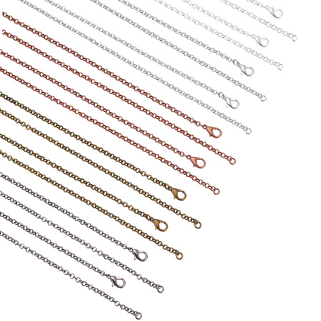 SUPERFINDINGS Iron Rolo Chains Necklace Making, with Lobster Clasps, Soldered, Mixed Color, 23.6 inches(60cm), 30pcs/box