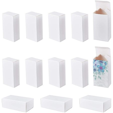 Fold Box Cardboard Gift Boxes, for Bridal Birthday Party Christmas, Rectangle, White, Box Size: 3.5x5.2x9.5cm
