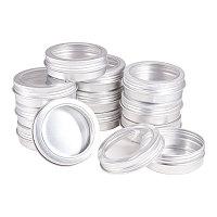 Round Aluminium Tin Cans, Aluminium Jar, Storage Containers for Cosmetic, Candles, Candies, with Screw Top Lid, Platinum, 7.05x2.5cm; 25pcs/box