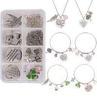 SUNNYCLUE DIY Necklace and Bracelet Setting, with Alloy Pendants, Stainless Steel Findings and Iron Jump Rings, Antique Silver & Platinum, 11x7x3cm