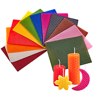 Beeswax Honeycomb Sheets, for Candle Making, Mixed Color, 20x15x0.3cm; 12 colors, 1pc/color, 12pcs/set
