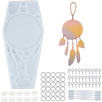 SUNNYCLUE DIY Woven Net/Web Pendant Makings, with Silicone Molds, Iron Screw Eye Pin Peg Bails, Plastic Transfer Pipettes and Latex Finger Cots, Clear, 257x120x10mm