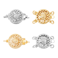 Brass Box Clasps, Multi-Strand Clasps, Flat Round, Mixed Color, 18~22x12x5~5.5mm, Hole: 1.5~2mm; 4sets/box