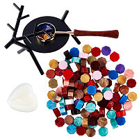 CRASPIRE Wax Seal Stamp Set, with Sealing Wax Furnace, Wax Sticks Melting Spoon Tool and Sealing Wax Particles, Deer Shape, Mixed Color, 71x113x95mm