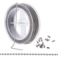 BENECREAT 1.5mm 49 Feet/15M Stainless Steel Extension Beaded Chain Adjustable Ball Chain with 50PCS Matching Connectors, Spool Packaged