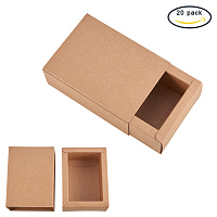 """BENECREAT 20 Pack Kraft Paper Drawer Box Festival Gift Wrapping Boxes Soap Jewelry Candy Weeding Party Favors Gift Packaging Boxes - Brown (4.4x3.2x1.65"""")"""