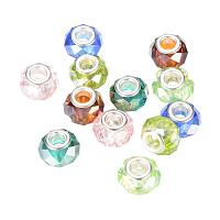 NBEADS 100PCS AB-Color Plated Crystal Glass Beads Faceted Large Hole Beads for Jewelry Making