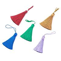 NBEADS 10 Pcs 2 inch Random Mixed Color Polyester Tassel Pendants, Ice Silk Floss Handmade Soft Tassel with Hang Loop for Jewelry Making, DIY Projects, Bookmarks