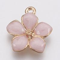 Zinc Alloy Enamel Pendants, Flower, Golden, Pink, 16.5x14.5x2.5~3mm, Hole: 1.5mm