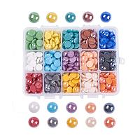 ARRICRAFT 1 Box (About 600pcs) 15 Colors Half Round Flatback Pearlized Plated Handmade Porcelain Cabochons for Scrapbook Craft DIY Making (9.5mm)