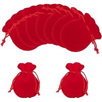 """NBEADS 30 Pcs 3.54""""x2.75"""" Velvet Cloth Drawstring Bags, Calabash Shape Drawstring Jewelry Pouches Small Candy Gift Bags for Christmas Wedding Birthday Party Favors, Red"""