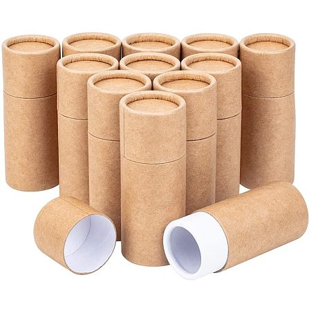 BENECREAT 12PCS 20ml Burlywood Kraft Paperboard Tubes Round Kraft Paper Containers for Pencils Tea Caddy Coffee Cosmetic Crafts Gift Packaging