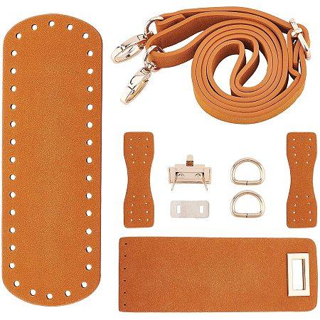 PandaHall Elite DIY PU Leather Bag Knitting Set, Leather Bag Bottom/Shoulder Strap/Bag Twist Lock/Flap Cover/Bag Buckles, Camel(7 Kinds of Accessories)