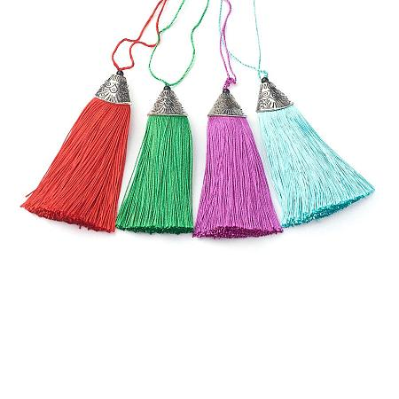 NBEADS 20 Pcs 3.3 Inch/8.5cm Random Mixed Color Nylon Handmade Soft Tassels with Cord Loop for DIY Projects, Jewelry Making, Decoration, Bookmarks