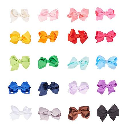 PandaHall Elite 20pcs Multi-colored 2 Inch Grosgrain Bowknot Alligator Hair Clips Solid Big Hair Bows Clips Fully Lined Barrettes for Teens Toddlers Kids Children