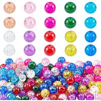 PandaHall Elite 8mm Crackle Glass Beads for Craft Supplies Adults, 200pcs 10 Colors Crystal Lampwork Beads for Beading Supplies Necklace, Bracelet, Earring Making