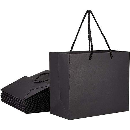 Pandahall Elite Black Gift Bags with Handles 7.8x3.9x7 20pcs Kraft Paper Bag, Party Bags, Retail Bags, Shopping Bags, Paper Bags with Handles Recyclable Paper