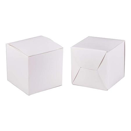 BENECREAT 60PCS Gift Boxes White Paper Boxes Party Favor Boxes 2 x 2 x 2 Inches with Lids for Gift Wrapping, Wedding Party Favors