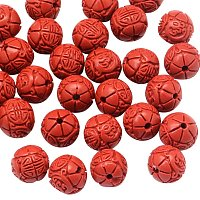 NBEADS 100 Pcs 6mm Red Cinnabar Beads, Round Flower Bud Loose Beads Charms Beads fit Bracelets Necklace Jewelry Making