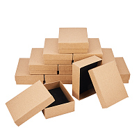 NBEADS 12 cardboard jewelry set box, for ring, necklace, rectangle, 9 x 7 x 3 cm skin colors