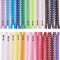 BENECREAT 48PCS 12 Inch(30cm) DIY Nylon Coil Flower Zipper Lace Zippers for DIY Sewing Tailor Craft Bed Bag, 24 Color