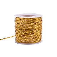 PandaHall Elite 50 Yards 2mm Metallic Cord Gold Braided Metallic Beading Cords Metallic Tinsel Cord Tinsel String for Gift Wrap Ribbon Craft Making
