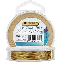 BENECREAT 490FT 28 Gauge Tarnish Resistant Golden Iron Crafting Wire for Jewelry Beading Project, DIY Frame Arts and Crafting Making, 0.3mm