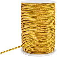 PandaHall Elite 100 Yards 3mm Flat Polyester Thread Braided Beading Cord for Quilting Trimming Crafts Making, Gold