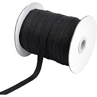 NBEADS 80 Yards(73m)/Roll Cotton Tape Ribbons, Herringbone Cotton Webbings, 1 cm Wide Flat Cotton Herringbone Cords for Knit Sewing DIY Crafts, Black